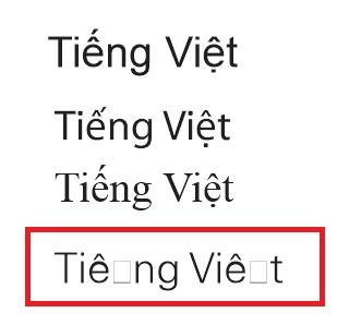 Lỗi font chữ