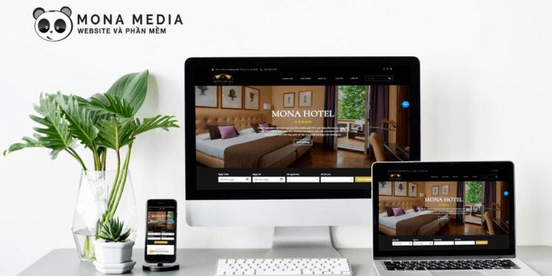 mẫu website khách sạn, resort của mona