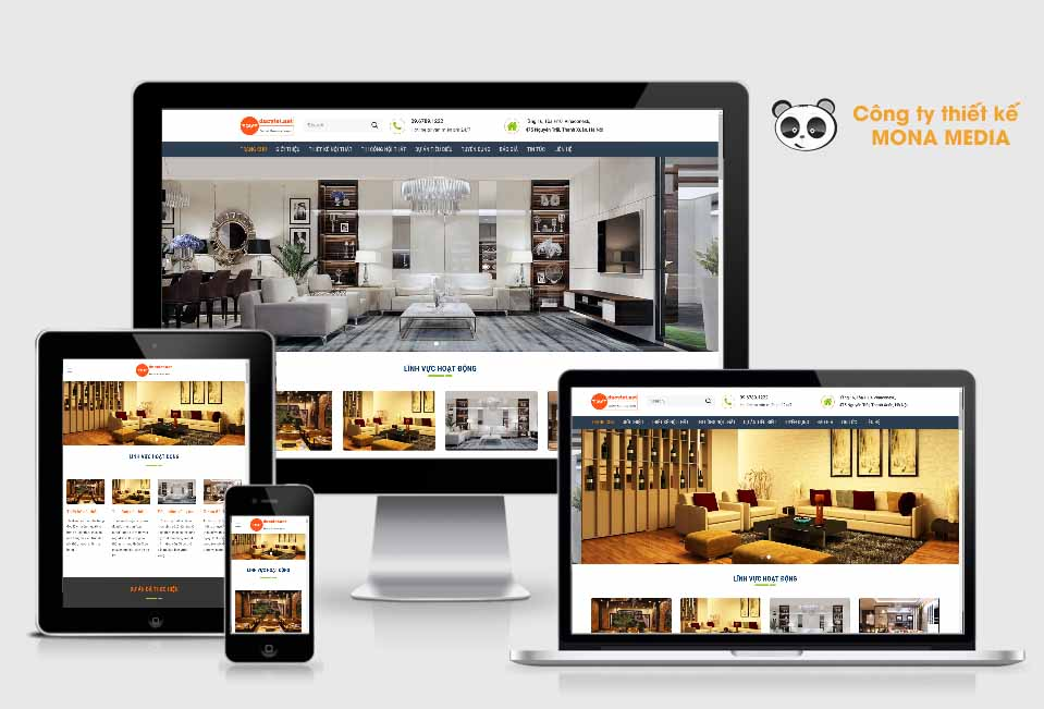 Mẫu website nội thất của Mona Media